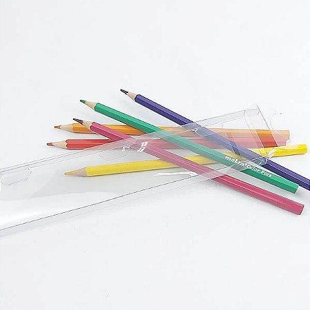 PXLapis-1 PX-207 Caixa para 06 Lápis de Cor Sextavado Ø7mm e Pente (19,3x4,2x1) cm 10und Caixa para Embalagem