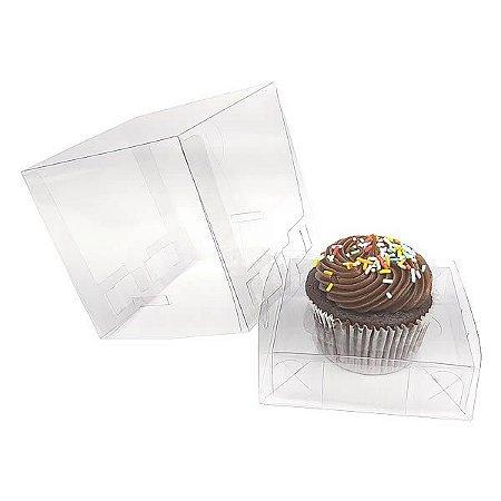 KIT Caixa para 1 Cupcake Grande (8,5x8,5x8,5 cm) Caixa e Berço KIT21 10unids Caixa de Acetato
