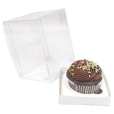 KIT Caixa para 1 Cupcake Grande (8,5x8,5x12 cm) Caixa e Berço KIT12 10unids Caixa de Acetato