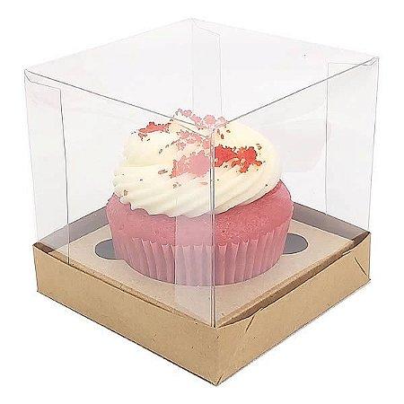 KIT Caixa para 1 Cupcake Grande (8,5x8,5x8,5 cm) Caixa e Berço KIT50 10unids Caixa de Acetato