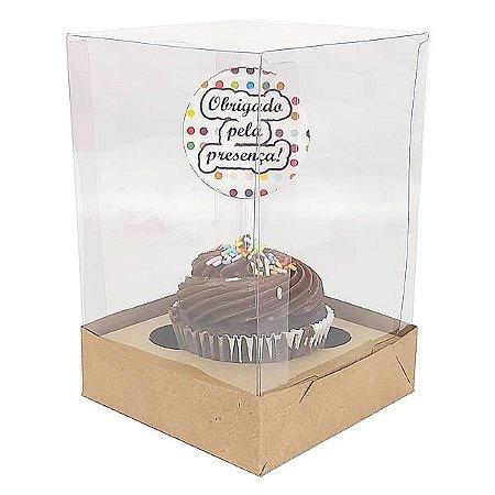 KIT Caixa para 1 Cupcake Grande (10x10x12 cm) Caixa e Berço KIT53 10unids Caixa de Acetato