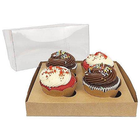 Caixa para 4 Cupcakes Grandes (19x17.5x9 cm) KIT55 10unids Caixa de Acetato