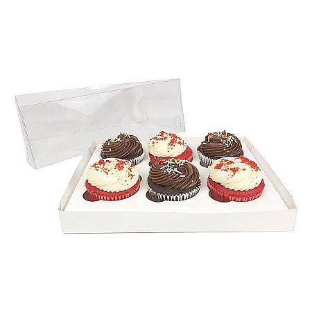 KIT Caixa para 6 Cupcakes Grandes (25x19x9 cm) Caixa e Berço KIT17 10unids Caixa de Acetato