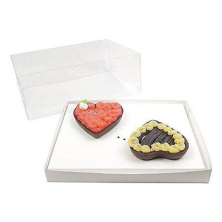 KIT Caixa Coração 200g para Forma 45 BWB (25x19x9 cm) Caixa e Berço KIT29 Embalagem Ovo de Colher 10unids