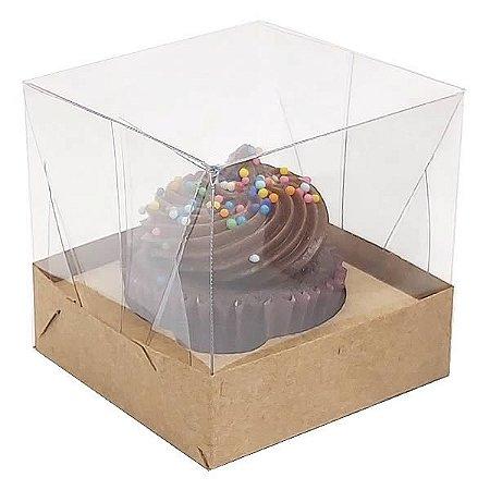 KIT Caixa para 1 Cupcake Pequeno (6x6x6 cm) Caixa e Berço KIT2 10unids Caixa de Acetato