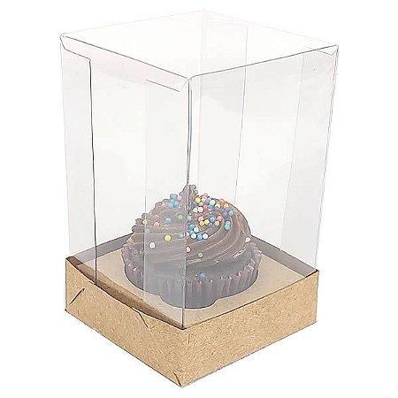 KIT Caixa para 1 Cupcake Pequeno (6x6x9,5 cm) Caixa e Berço KIT4 10unids Caixa de Acetato