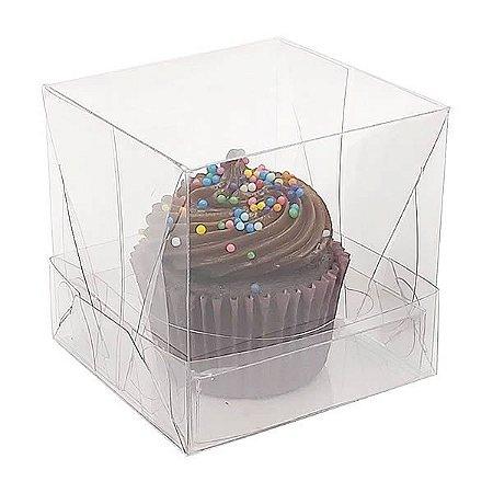 Caixa Plástica para 1 Cupcake Pequeno (6x6x6 cm) KIT116 10unid Caixinha de Acetato