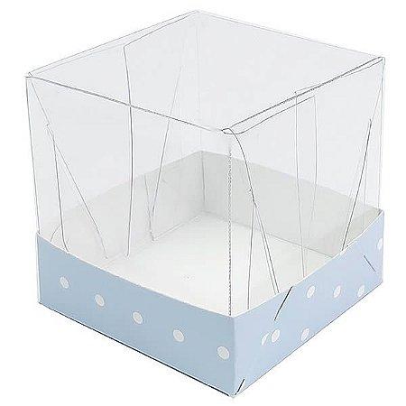 Caixa de Acetato com Base Azul Claro Poá 10unid