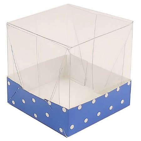 Caixa de Acetato com Base Azul Escuro Poá 10unid