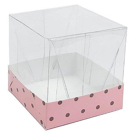 Caixa de Acetato com Base Rosa Poá Marrom 10unid