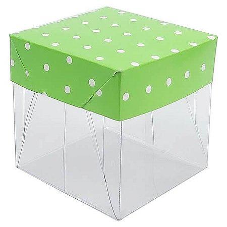 Caixa de Acetato com Base Verde Claro Poá 10unid