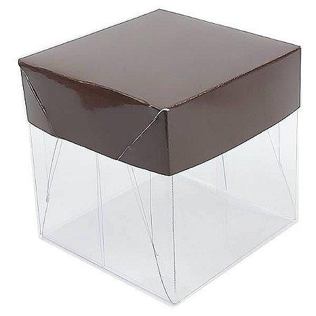 Caixa de Acetato com Base Marrom Lisa 10unid