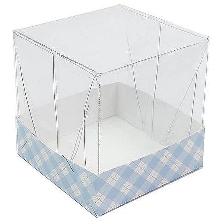 Caixa de Acetato com Base Azul Claro Xadrez 10unid