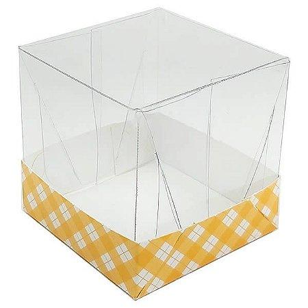 Caixa de Acetato com Base Laranja Xadrez 10unid