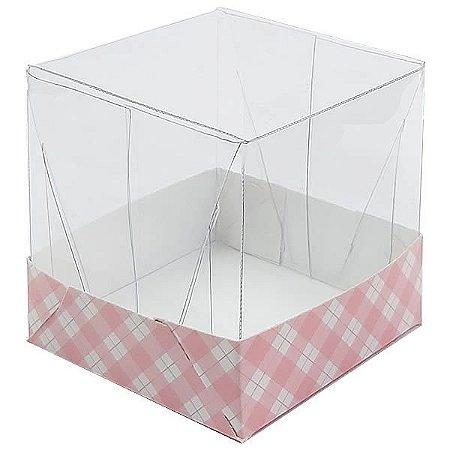 Caixa de Acetato com Base Rosa Xadrez 10unid