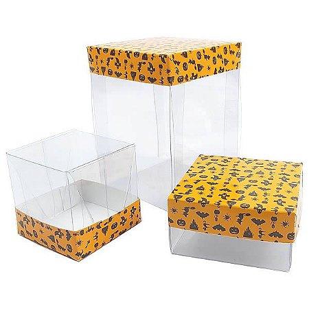 Caixa de Acetato com Base Halloween Laranja 10unid
