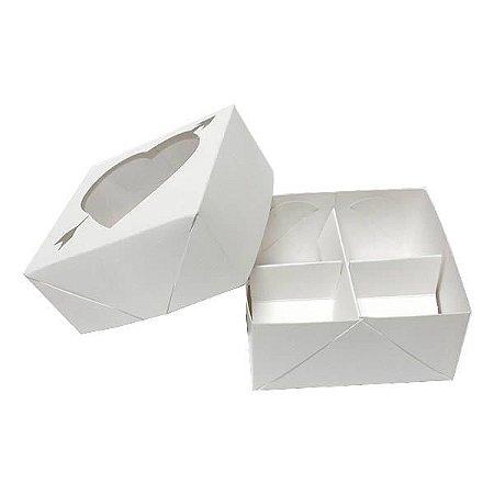 Caixa 4 Divisórias Coração Flecha (Branca) (8x7.5x4 cm) 10unid Doces