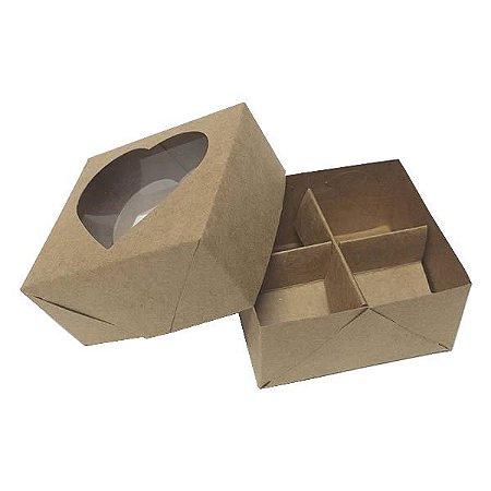 Caixa 4 Divisórias Coração (Kraft) (8x7.5x4 cm) 10unid Embalagem Docinhos