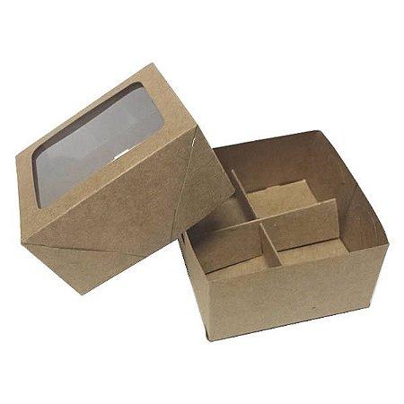 Caixa 4 Divisórias (Kraft) (8x7.5x4 cm) 10unid Caixa para Embalagem Doces