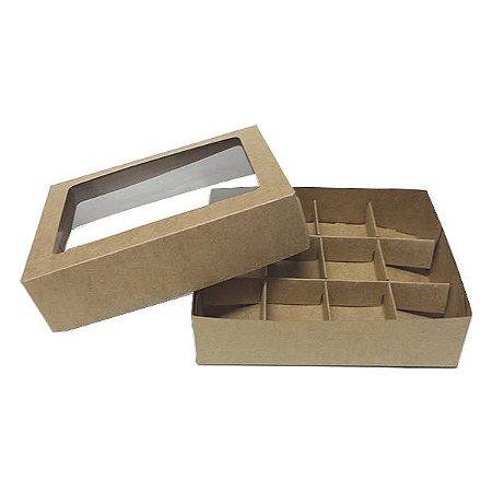 Caixa 12 Divisórias (Kraft) (15x12x4 cm) 10unid Embalagem Doces