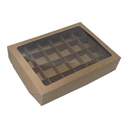 Caixa 24 Divisórias (Kraft) (22x16x4 cm) 10unid Embalagem Docinhos