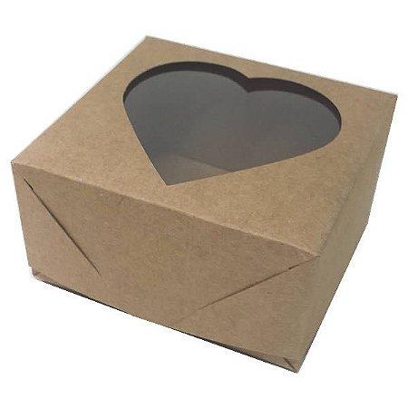 Caixa 4 Visor Coração (Kraft) (8x7.5x4 cm) 10unid Embalagem Janelar