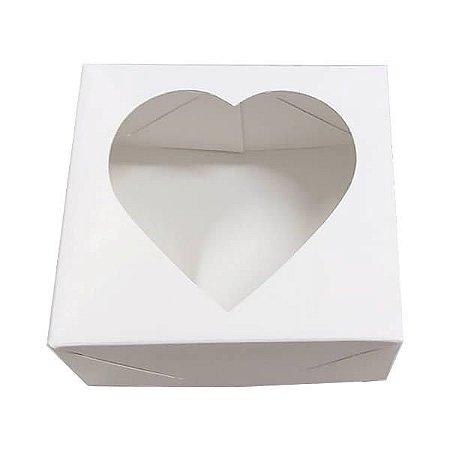 Caixa 4 Visor Coração (Branca) (8x7.5x4 cm) 10unid Embalagem Pet