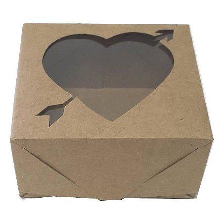 Caixa 4 Visor Coração Flecha (Kraft) (8x7.5x4 cm) 10unid Artesanatos