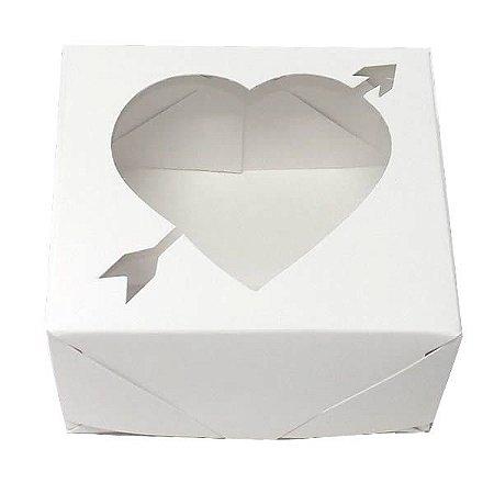 Caixa 4 Visor Coração Flecha (Branca) (8x7.5x4 cm) 10unid Docinhos