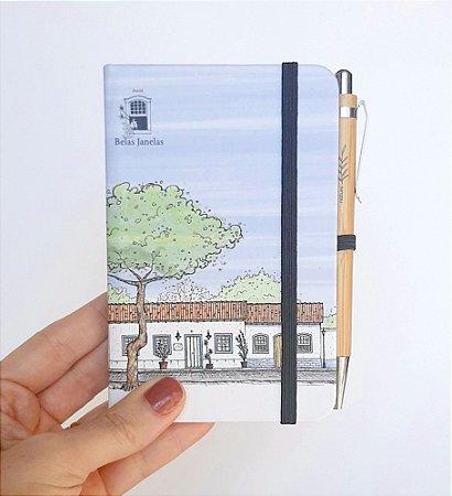 Caderneta tipo moleskine P com caneta