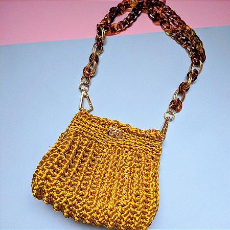 Bolsa de Ombro de Crochê Ouro