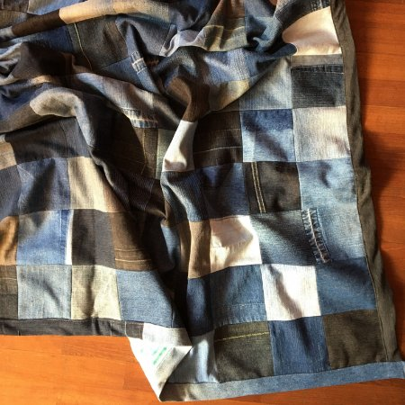 Manta patchwork jeans (quadradinhos)