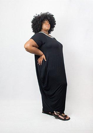 Vestido pipa preto malha plus size