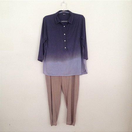 Conjunto linho calça caqui degradê azul