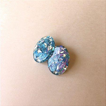 Brinco Oval Glitter Azul