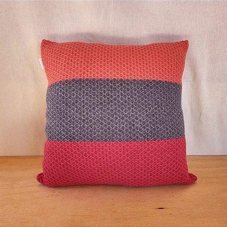 Capa de almofada em tricô   coral+cinza+vermelho (40x40cm)