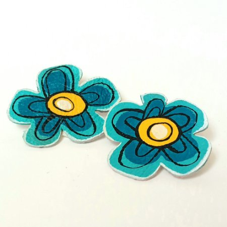 Brinco flores astrais - azul