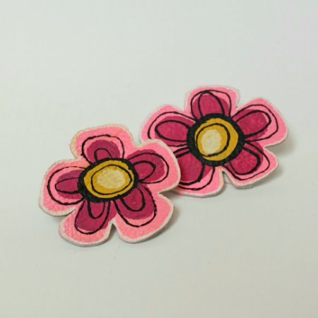 Brinco flores astrais - rosa