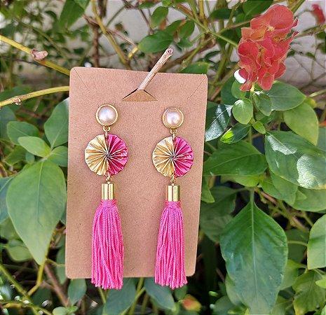 Brinco Tassel Duo Pink