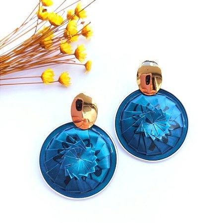 Brinco Manu Dourado - Azul Petróleo