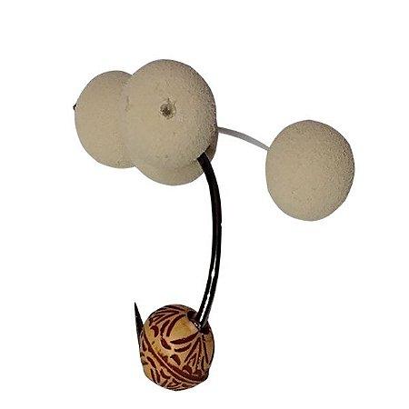 Anteninha Para tamba Branca com Miçanga Marrom