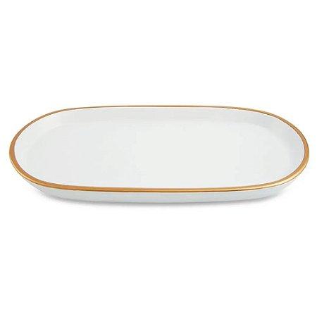 Bandeja de Cerâmica Branca e Dourada