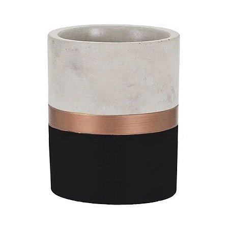 Cachepot de Cimento Preto e Dourado Médio ELO