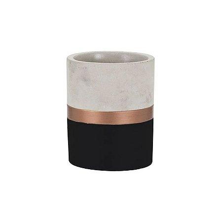 Cachepot de Cimento Preto e Dourado Pequeno ELO