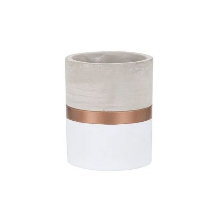 Cachepot de Cimento Branco e Dourado Pequeno ELO