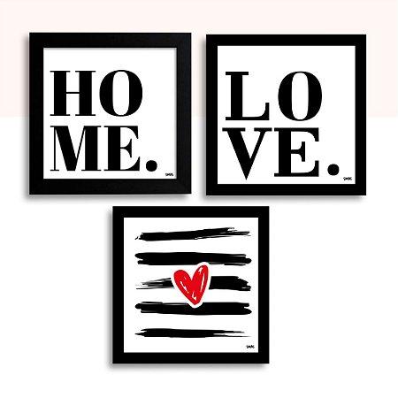 Trio Placa Decorativa - Home , Love e Coração