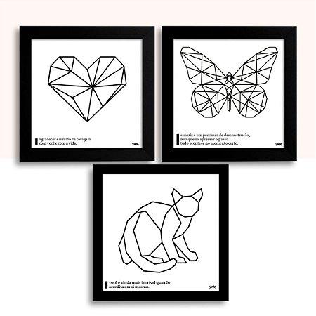 Trio Placa Decorativa - Coração, Borboleta e Gato