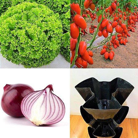 Kit Horta Em Vasos - Sementes de Alface Crespa - Tomate Napoleão - Cebola Roxa + Vaso triplo