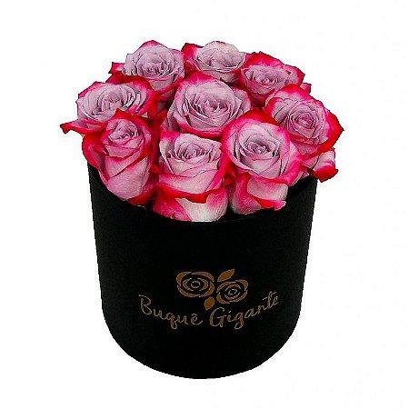 Exclusivo Box Rígido Negro c/ 9 Rosas Pink Importadas