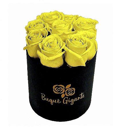 Exclusivo Box Rígido Negro c/ 9 Rosas Amarelas Importadas